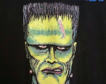 "Vintage 90s Frankenstein Halloween Shirt, Size XL Black Large Graphic Print, Glow in the Dark, Bright Image, 46"" Chest, Cool Shirt."