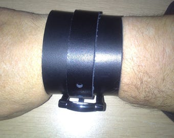 style arm strength black leather bracelet