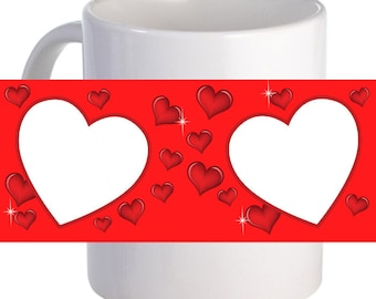 """Personalized """"Double Heart"""" Coffee Mug With Custom Printed Image, Text"""