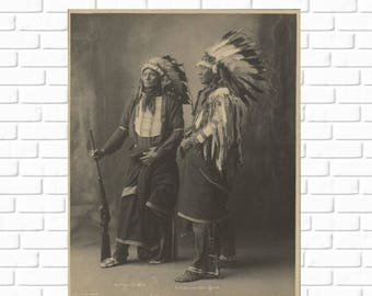 ON SALE Chief Goes to War and Chief Hollow Horn Bear - Sioux - Frank Rinehart - 1898 - Photo - Photography - Vintage - Native American - His