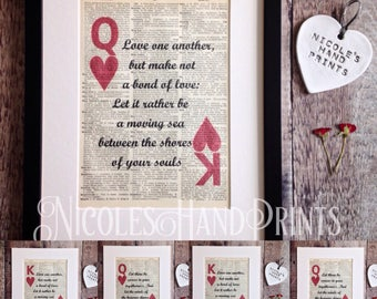 Love Print, Personalised Gift, Playing Card, Paper Anniversary Gift, Kahlil Gibran, Wedding gift Idea, Paper Anniversary, Gift