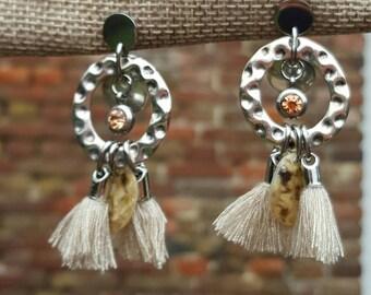 Earrings silver metal rings and tassels