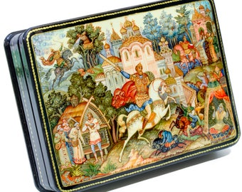 "Russian Lacquer Box - ""Vityaz"" - Medium Size - Hand Painted in Russia"