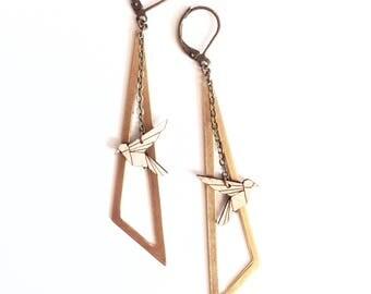 Wood and metal gold Hummingbird earrings
