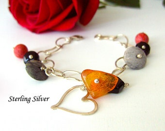 Sterling Silver chain bracelet, Genuine Corals, Agate, Black Onyx and Natural Honey Amber. Sterling Silver Heart Bracelet,