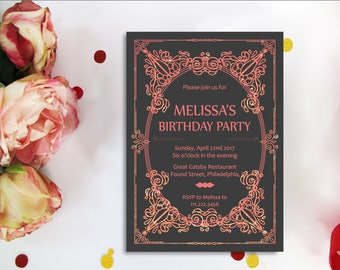 art deco birthday invitation great gatsby invitation great gatsby birthday invitation 50th birthday - Great Gatsby Wedding Invitations