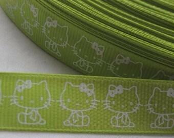 GROSGRAIN Ribbon, sold in 75 cm kitten green 16mm drop