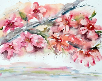 PINK  Dogwood original watercolor painting, 11x14 , pink watercolor flower, dogwood painting