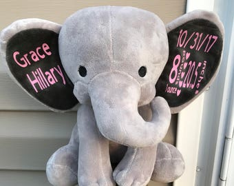 Personalized Elephant Baby Gift , Birth Stat Plush ,  Gift For New Mom , Baby Shower Present , Birth Announcement , Big ear elephant birth