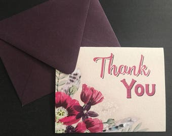 Set of 10 Folded Floral Thank You Note Cards w/Envelopes- A2 Size, Kraft, Rustic, Purple, Pink, Flowers, Feathers, Boho