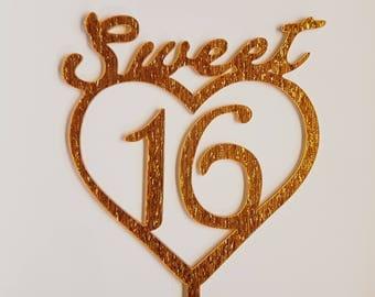 Sweet sixteen taarttopper in goudglitter