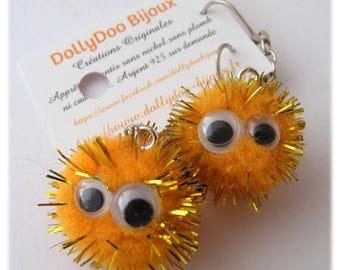Earrings of a kind Designer [Bloppies hedgehogs] - Orange