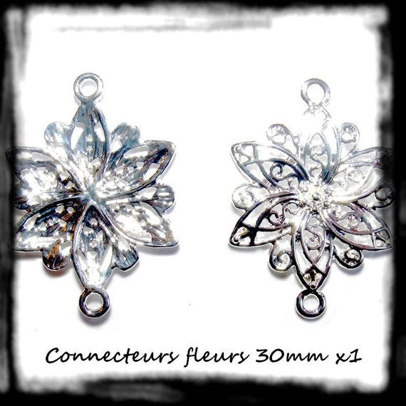 Pearl connector large flower 30 mm silver plate 1 x