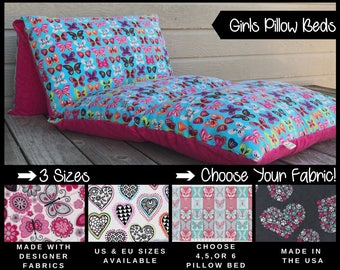 Girls Nap Mat - Preschool Nap Mat - Kids Nap Mat - Pillowbed for Kids - Girls Pillow Bed - Kids Pillow Mattress - Floor Pillow - Pillow Bed