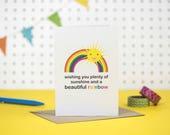 Rainbow baby card | Rainbows and sunshine card | Healthy pregnancy card