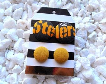 Steelers Button Earrings Set-Pittsburgh Steelers Earrings-NFL Earrings-Steelers Clip Ons-Steelers Studs-Hypoallergenic-NFL Studs-Nickel Free