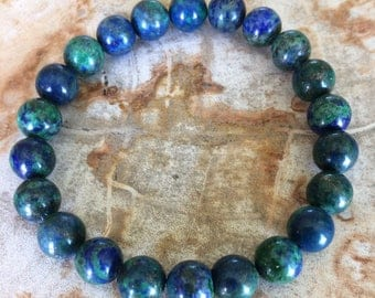 Azurite Malachite Crystal Stretch Bracelet! Premium Beads Chakra Healing Bracelet Natural Jewelry Meditation Metaphysical Yoga Chrysocolla!