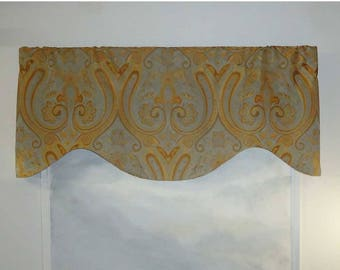 Spa and Amber Gold Large Medallion Valance