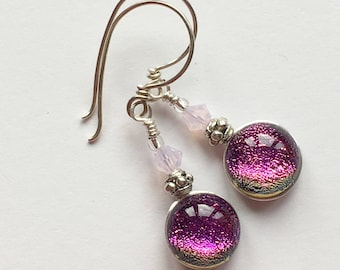 Dichroic Glass and Titanium Drop Earrings ~ Perfect Pink