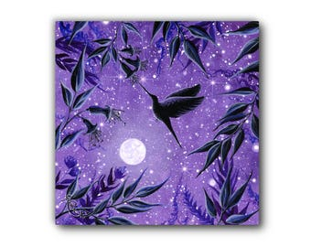 Small Giclée - Canvas Print - Acrylic Painting - Nature - Hummingbird - Moon - Purple - Contemporary Art - by Jasmine Star