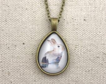 Landscape Bunny Necklace Antique Brass