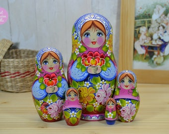 Nesting dolls, Gift for friend, Matryoshka, Russian art, Gift for her, Wooden hand painted stacking dolls in pink and blue and silver crown