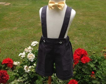 Boys charcoal gray shorts with cuffs and tie; boys suspender shorts, ring bearer shorts, available to order 12mo, 18 mo, 2t, 3t, 4t, 5t ,6