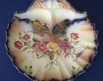 Antique Carlton Ware Rose and Curlicue Shell Dish Flow Blue