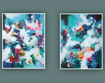 """Original Abstract Painting, Contemporary Art, Set of 2 painting, Abstract Flower Painting, 2 Modern Paintings on Paper 24""""x18"""" each"""