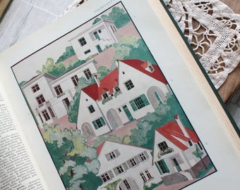 2 illustrations 1920 Architecture & Decoration, household 1926 Larousse dictionary shows old, original illustration, 26x18.5cm