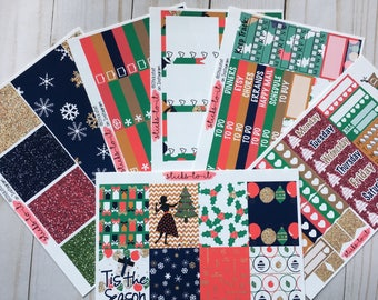 Retro Glam Christmas ECLP Happy Planner Inkwell Press Weekly Kit Stickers Check Lists Daily Boxes Washi Strips