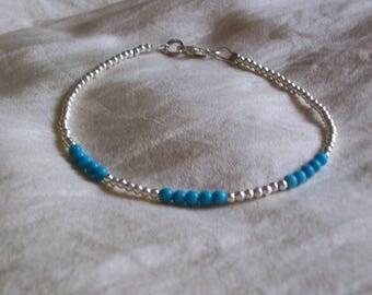 Turquoise Bracelet Real Sleeping Beauty Turquoise Silver Bracelet Sterling Bracelet Blue Gemstone Bracelet Semi Precious Delicate Bracelet