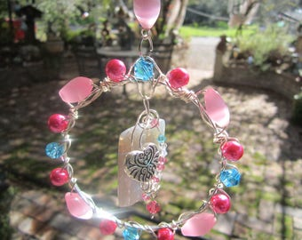 Pink - Aqua Heart Sun Catcher - #83