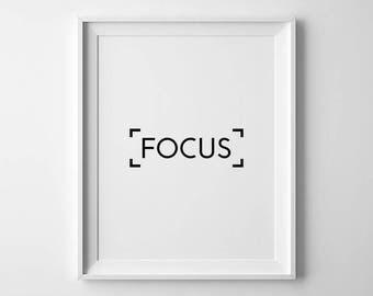 Minimalist Poster, Focus Wall Art, Workspace Decor, Focus Print, Study Motivation, Office Quote Print, Work Motivation