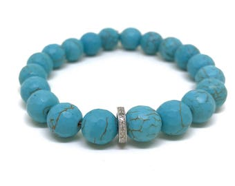 Beaded turquoise howlite and 0,22 carat diamond bracelet