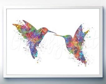 Hummingbird Kissing Watercolor Art Print  - Home Living - Animal Painting - Hummingbird Poster - Wall Decor -Home Decor - House Warming Gift