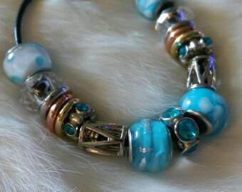 Pandora inspired bracelet. Glass beaded bracelet. Charm bracelet.