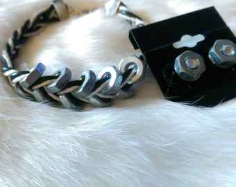 Braided nut bracelet and earring set