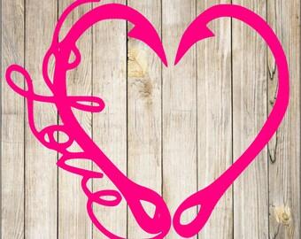 Fish hook heart Love Decal