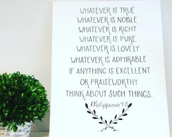 Philippians 4:8, Scripture Art, Bible Verse, 16x20