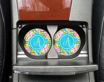 Car Coasters | Monogram Car Coaster | Cup Holder Coaster | Car Decor | Mongram Car Decor