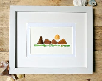 Handmade Authentic Sea Glass Art // Wanderlust Mountains // Home Decor // Cabin Decor // Framed and Matted