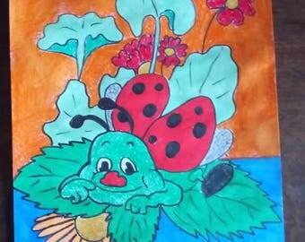 Ladybug on leaf design