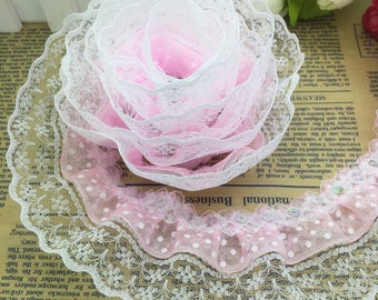 1 3/4 inch wide pink or white ruffled trim price for 1 yard