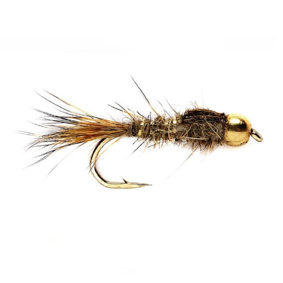 Bead Head Gold Ribbed Hares Ear Nymph Fly - Trout and Panfish Fly Fishing Flies - Hook Size 12 - Hand Tied Trout Flies
