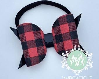 Baby Girl Headband, Buffalo Check Plaid Bow Clip, Girls Hair accessory