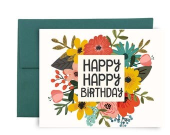 Happy Happy Birthday Card - Red Yellow Pink Flowers Birthday Card Set Notecards Greeting Cards Bearly Southern Co