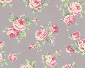 Shabby Chic Grey Rose Cotton Fabric
