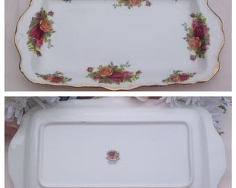 """Royal Albert Slice Tray """"Old Country Roses"""" Design"""