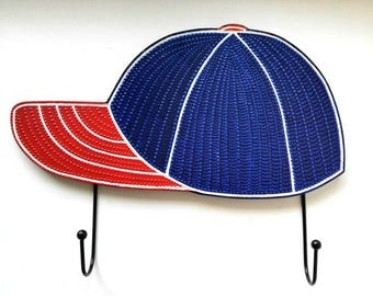 Blue Baseball Cap Childrens Hats Storage Baby Room Decor Hooks Bag Hanging Emblem Mascot